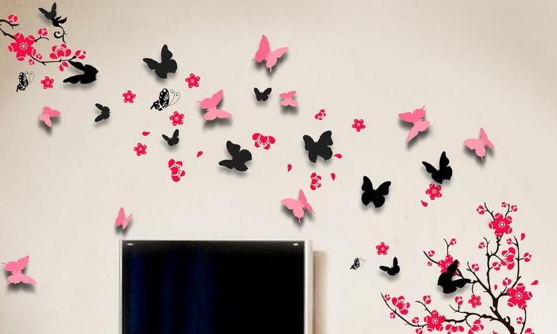 украшение бабочками стен фото